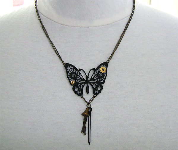 mech butterfly necklace on