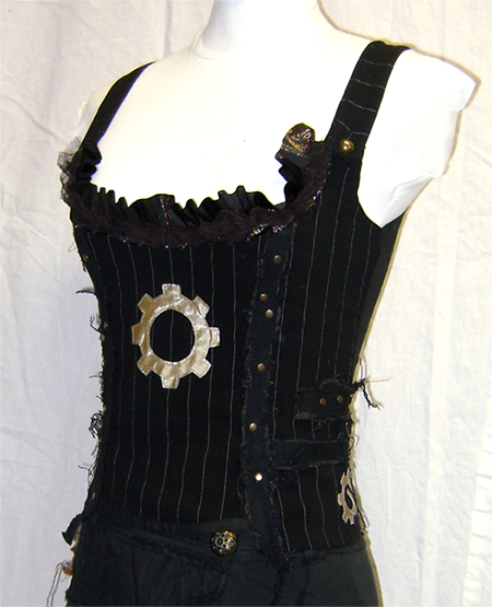 pinstripe steampunk bustier on