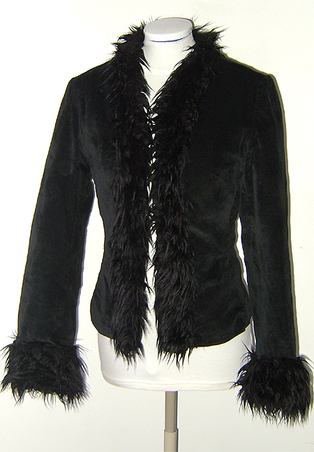 black velour fur trim jacket