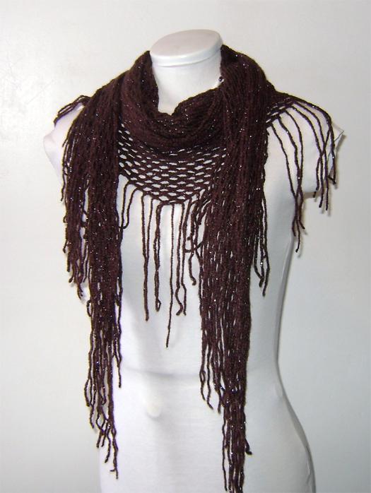 brown chrochet net scarf
