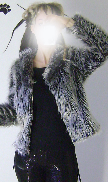 silver grey fur jacket on 2