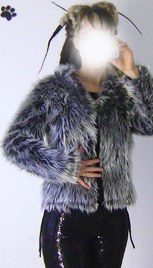 silver grey fur jacket on