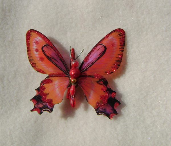 red butterfly hair clip glitter