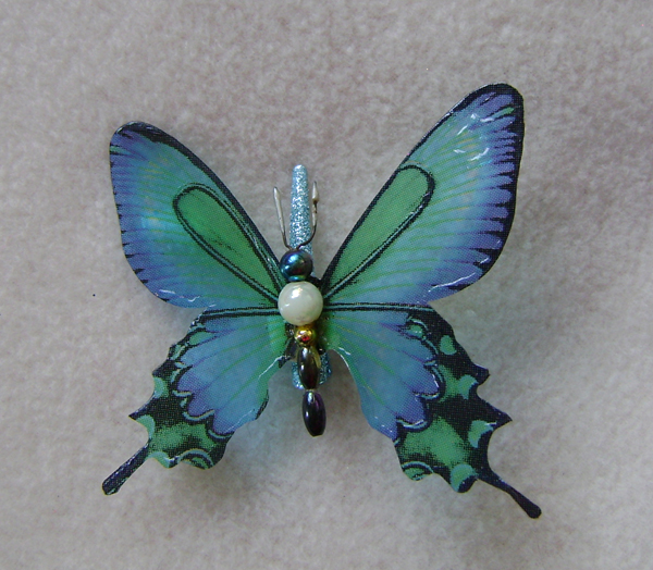 blue green butterfly hair clip