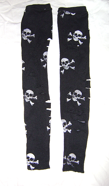 distressed skull arm warmers