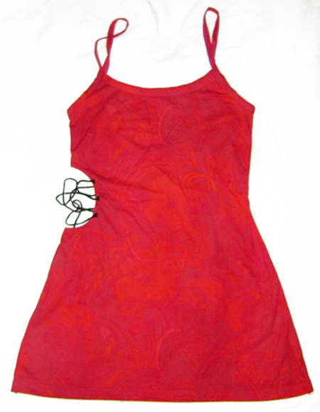 lace side red pink paisley dress