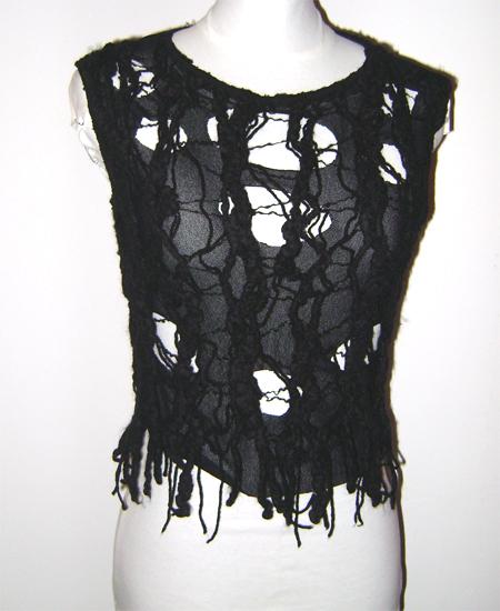distress wool mesh top on