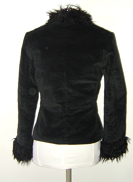 black velour fur trim jacket on back