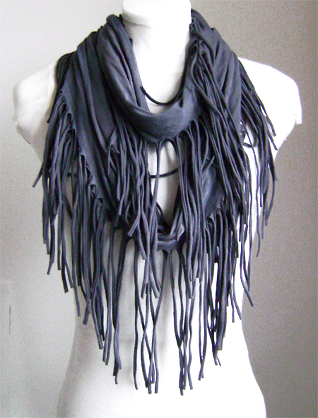 grey tassle loop scarf