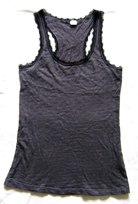 h&m vest grey with lace edge