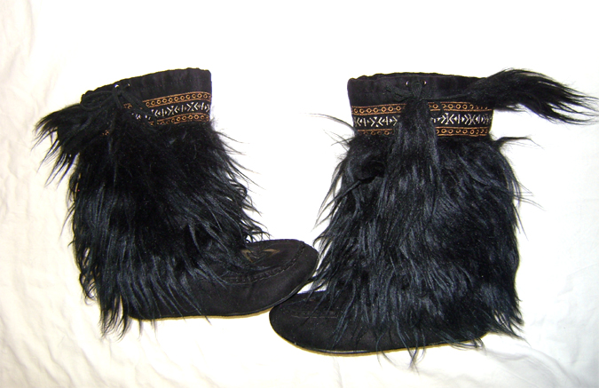 black fur booties