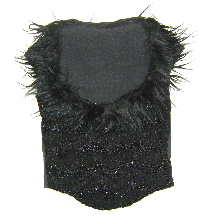 fur bodice style top blk lace