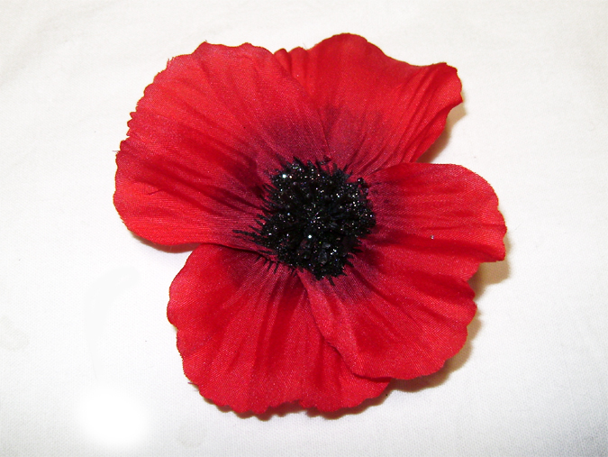 red poppy hairclip