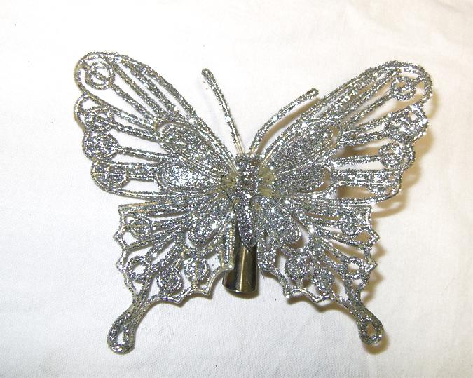 silver glitter hair butterfly