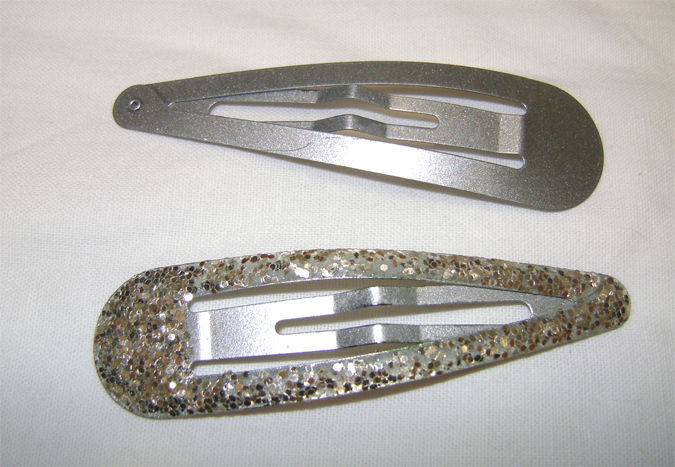 silver and glitter hair clips
