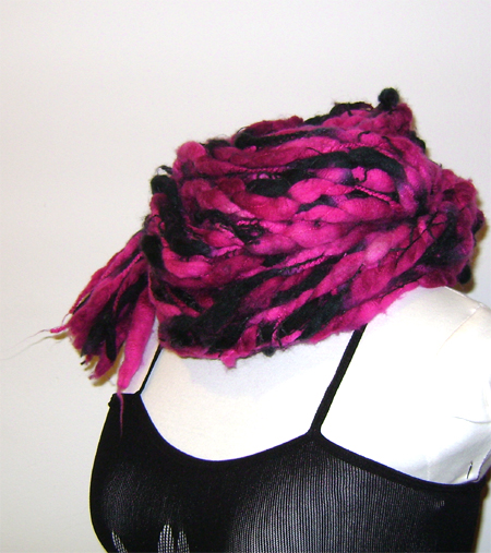 pink black merino wool scarf on