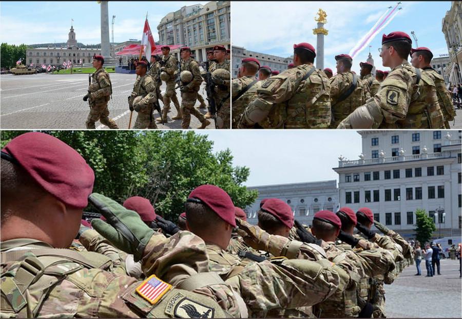 173rd Airborne Brigade в Тбилиси на площади Свободы в День независимости Грузии