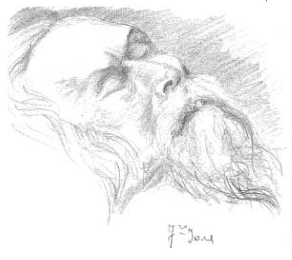 Отец Сергий на смертном одре. Рисунок с. Иоанны. 7 июля 1944. (Архив Н.А. Струве)