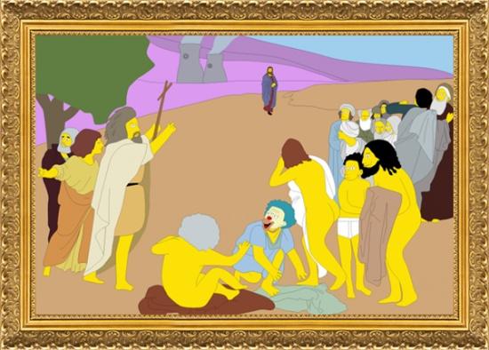 Пародия на картину Александра Иванова «Явление Христа народу»
