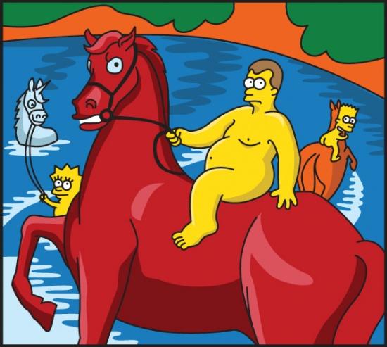Пародия на картину Кузьмы Петрова-Водкина «Купание красного коня»