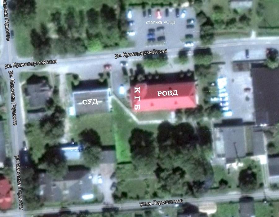 вид со спутника на здание отделения КГБ в г. Щучин