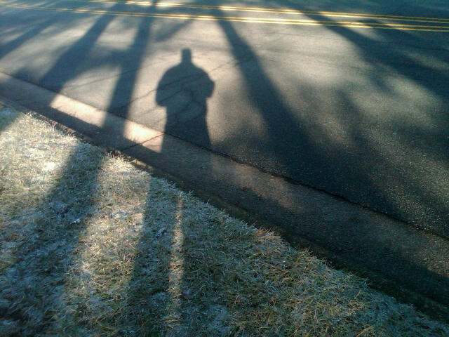 My shadow while waiting for the bus