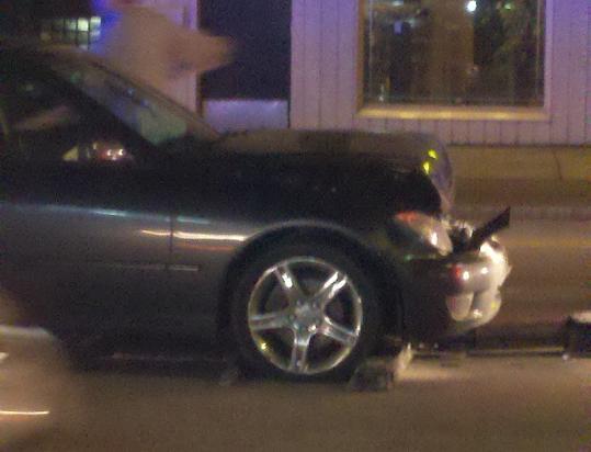 Perp's wrecked Lexus