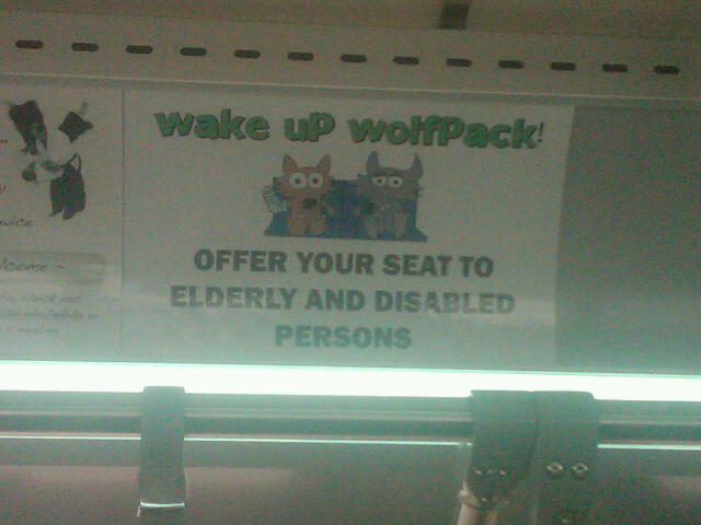 Offer your seat to elderly and disabled persons