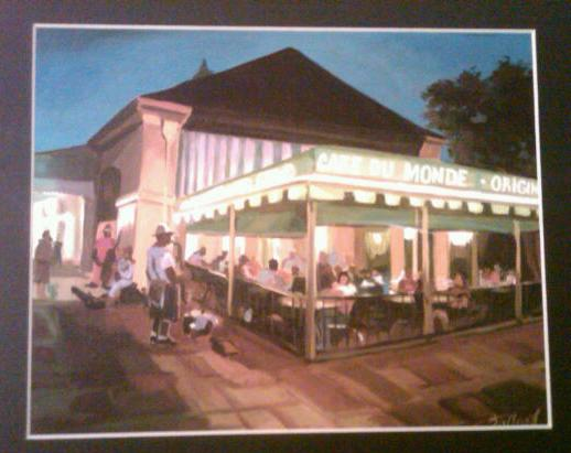 Watercolor print of Cafe du Monde in the New Orleans French Quarter