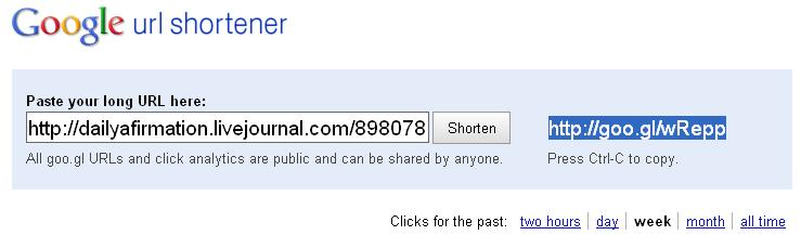 Screen capture of the goo.gl URL shortener
