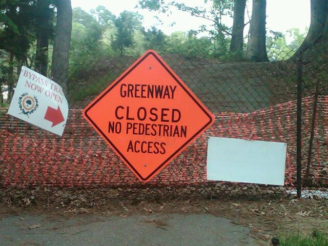 Greenway closed. No pedestrian access.