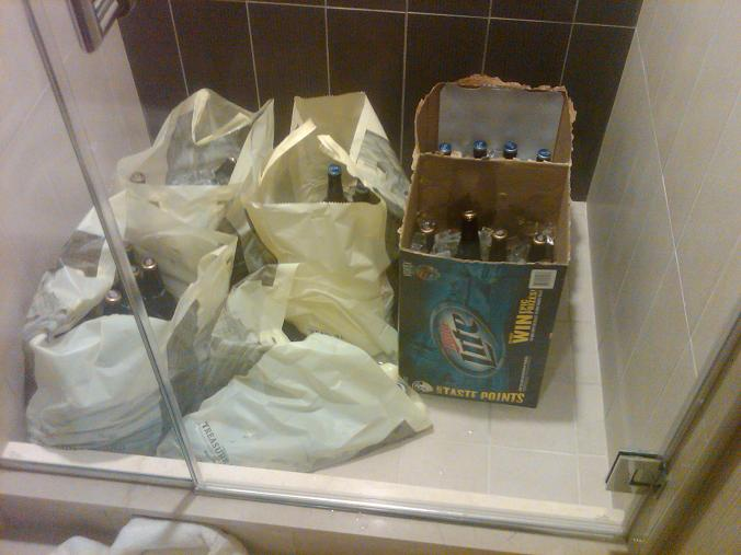 Cases of beer in the shower