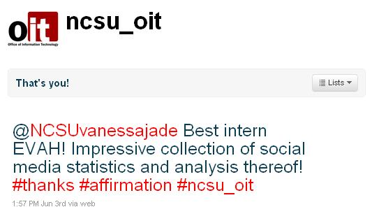 @NCSUvanessajade Best intern EVAH! Impressive collection of social media statistics and analysis thereof. #thanks #affirmation #ncsu_oit
