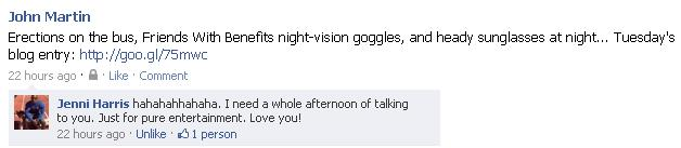 hahahahahahahah. I need a while afternoon of talking to you. Just for pure entertainment. Love you!