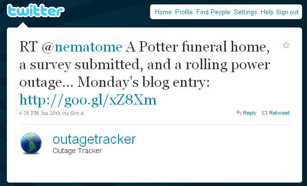 RT @nematome A Potter funeral home, a survey submitted, and a rolling power outage... Monday's blog entry