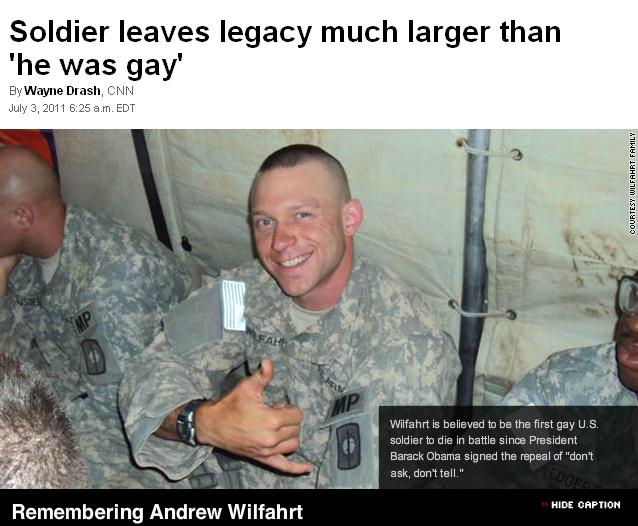 Soldier leaves legacy much larger than 'he was gay' (Click for story)