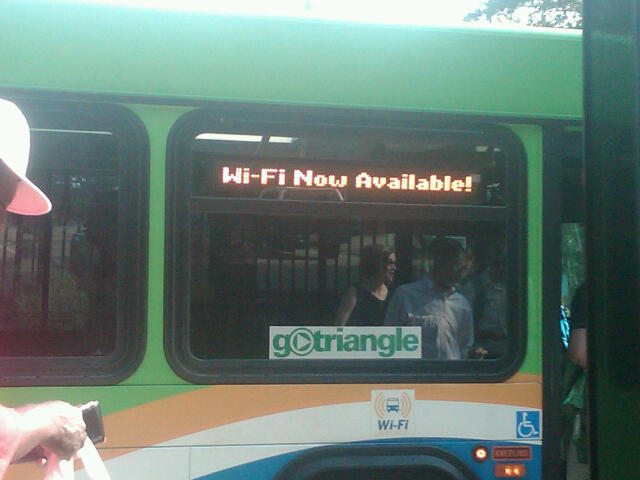 Wi-Fi Now Available sign on bus