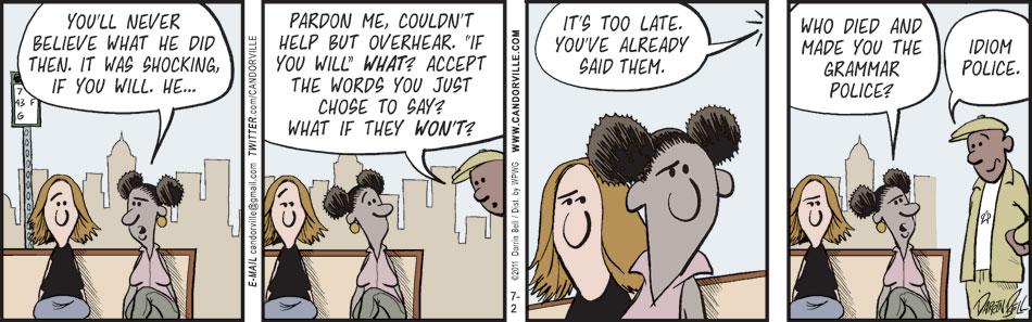 A Candorville comic about grammar