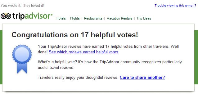 Congratulations on 17 helpful votes! Your TripAdvisor reviews have earned 17 helpful votes from other travelers. Well done!