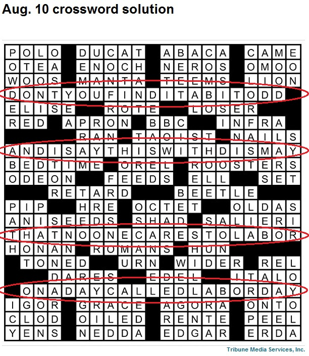 The crossword puzzle solution