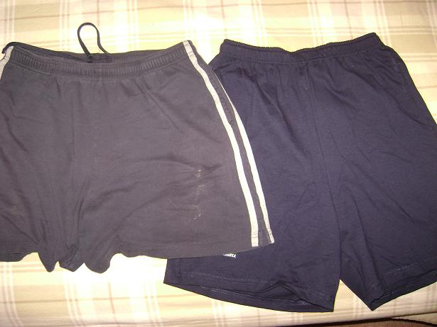 Russel brand gym shorts old pair and new pair side-by-side; new pair is about two inches longer than old pair