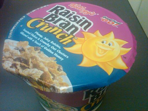 Raisin Bran Crunch cereal in a one-serving container