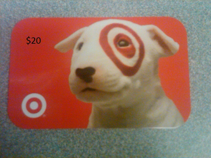 My compensation today - a $20 Target gift card