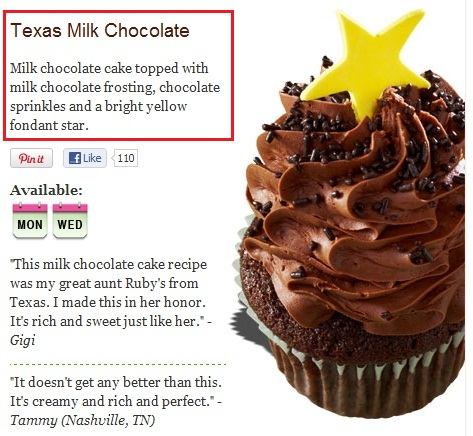 Texas Milk Chocolate: milk chocolate cake topped with milk chocolate frosting, chocolate sprinkles and a bright yellow fondant star