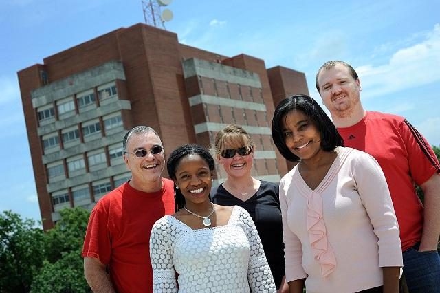 Me, Twanda, Jen, Rhonda, and Nick on the roof