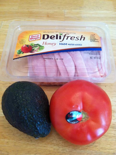 Deli fresh sliced ham, an avocado, and a Hothouse tomato.