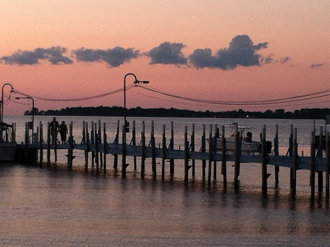 The piers at dusk at another angle and with a pinker sky