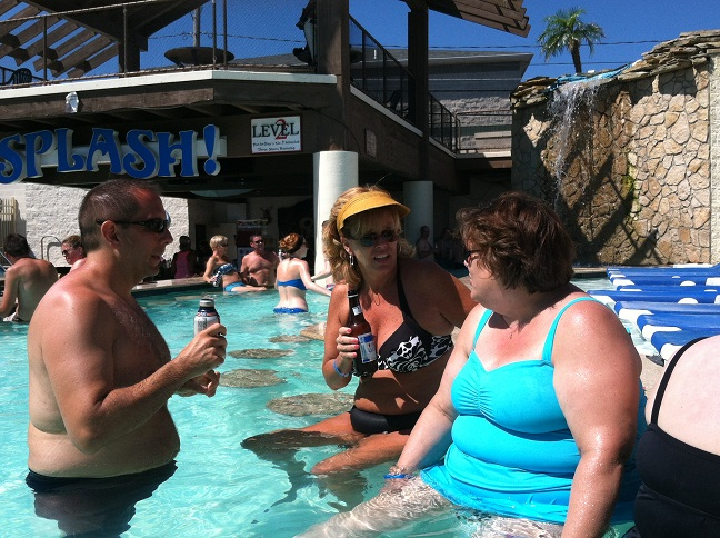Joe, Cindy, and Pat in the Splash Bar pool