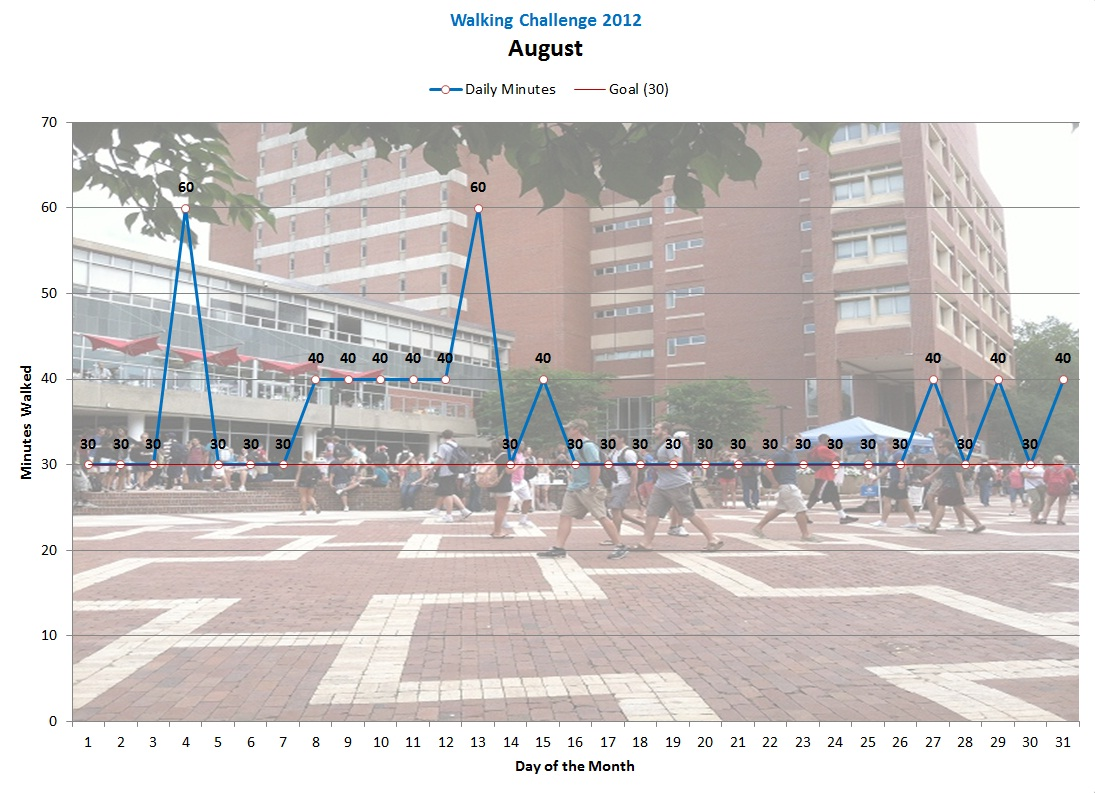 [Click to enlarge] Chart showing August daily walks with 9 days of 40 minutes, and 2 days at 60 minutes