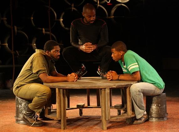 Kashif Powell (Ogun Size), Thaddaeus Edwards (Elegba), and J. Alphone Nicholson (Oshoosi Size)